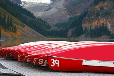 Canoes On Dock, Lake Louise, Banff National Park, Alberta, Canada