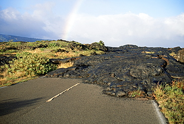 Volcano Lava Flowing Over Road National Park, Big Island, Hawaii