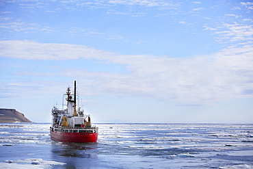 Icebreaker Ship On The High Arctic Waters