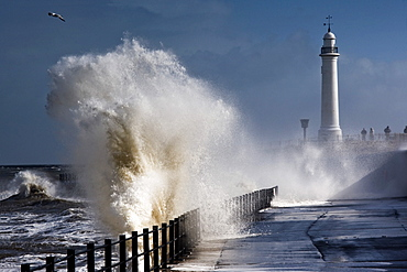 Waves Crashing By Lighthouse At Sunderland, Tyne And Wear, England, United Kindgom