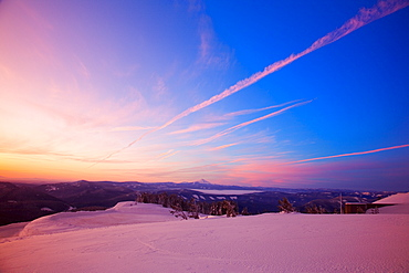 Sunset Over Winter Landscape, Mount Hood, Oregon, United States Of America