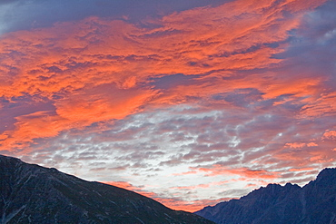 Sunset Over Mountain Range, Mount Cook Range, New Zealand