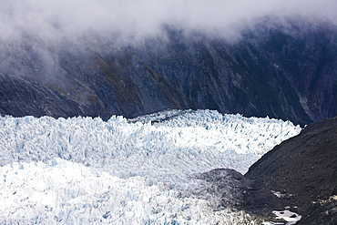 Glacier In The Mountains Of New Zealand