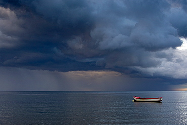 Empty Boat Floating In The North Sea, Sunderland, Tyne And Wear, England, Europe