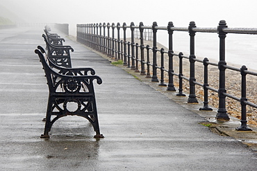 Redcar, North Yorkshire, England, Row Of Benches Overlooking The Beach And Sea