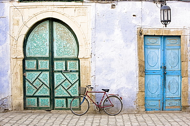 Bicycle And Blue Doors, Kairouan, Tunisia, Africa