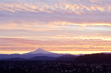 Sunrise Over Mount Hood From Portland, Oregon, Usa