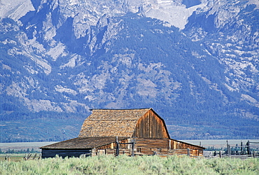 Barn And Mountain, Grand Teton National Park, Wyoming, Usa