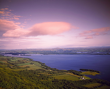 High Angle View Of Lake And Farmscape At Sunset, Ireland