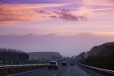 Granada, Spain, Sunrise Over A Highway