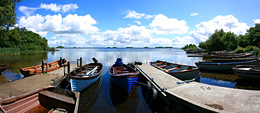 Lough Corrib Near Oughterard, Co Galway, Ireland, Boats Moored On The Lake