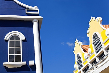 Oranjestad City, Aruba, Caribbean, Dutch Colonial Architecture On Main Street