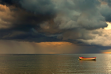 North Sea, Sunderland, Tyne And Wear, England, Dark Clouds And Lone Boat
