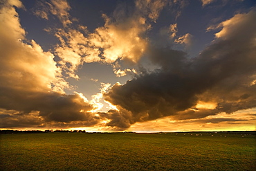 Sunset Through Clouds In North Yorkshire, England