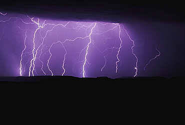 Lightning Storm At Night, Jemez Mountains, New Mexico, Usa
