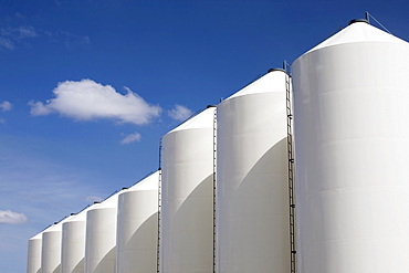 Alberta, Canada, Large White Grain Bins
