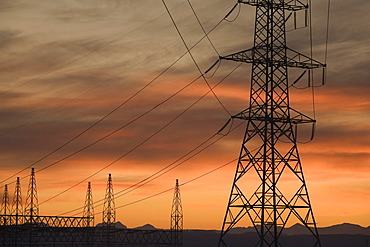 Calgary, Alberta, Canada, Electricity Towers And Wires At Sunset