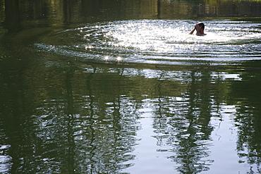 Portland, Oregon, A Person Swimming In A Lake