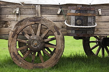 Northumberland, England, An Old Wooden Carriage With A Barrel Strapped To The Side