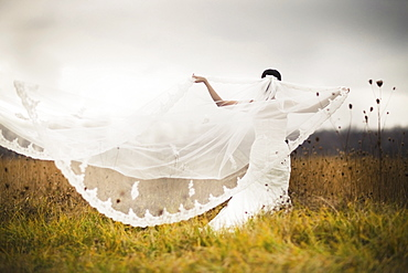 A Bride Standing In A Field And Holding Out Her Veil In The Wind, Ontario, Canada