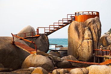 Wooden Boardwalk And Lookout On The Rocks Along The Ocean, Koh Tao Thailand