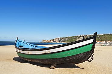 Fisherman's Boat On The Beach, Nazare, Estremadura And Ribatejo, Portugal