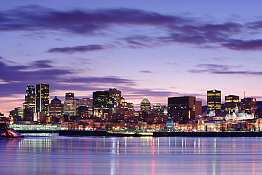 View Of Downtown And St. Lawrence River At Twilight, Quebec, Canada