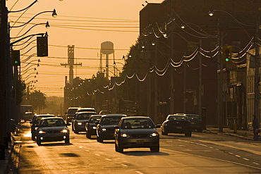 View Of Traffic At Sunrise On Queen Street In Downtown Toronto, Ontario, Canada