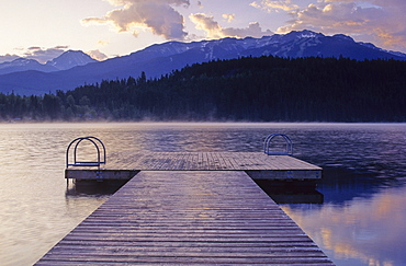Alta Lake At Dawn, With Dock In Foreground And Blackcomb Mtn Behind
