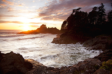 Waves At Cox Bay And Sunset Point At Sunset Near Tofino, British Columbia, Canada