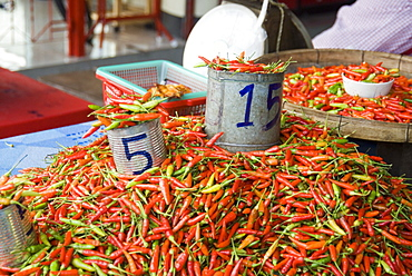 Chilli Peppers For Sale At A Market, Mae Hong Son Province, Thailand
