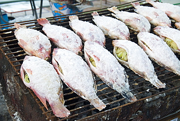 Grilled salted fish stuffed with lemongrass, Mae Hong Son Province, Thailand