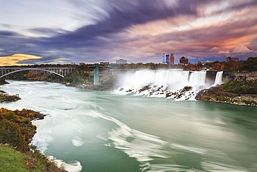 American falls and niagara river at dusk, Niagara falls new york united states of america