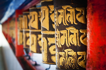Decorative wall in red and gold, Gangtok sikkim india
