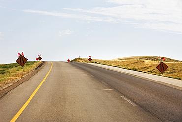 Signs warning of construction on the trans-canada highway, Saskatchewan canada