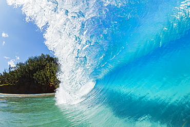 Blue ocean wave with a view of trees along the coast, Hana, maui, hawaii, united states of america