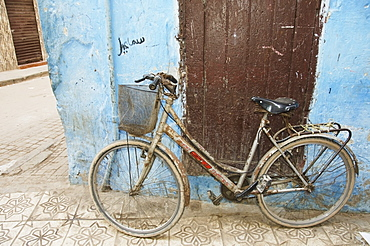 A Bicycle Leaning Against A Weathered Wall, Casablanca Morocco