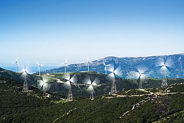 Wind turbines on a hill, Tarifa cadiz andalusia spain