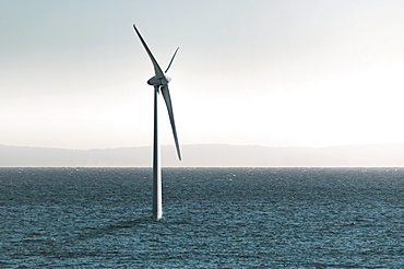 Digital composite of a wind turbine in the ocean, Tarifa cadiz andalusia spain