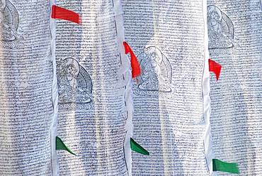 Buddhist prayer flags at tashiding monastery, Tashiding west sikkim india