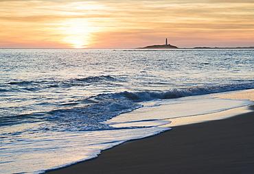 View of the coastline in the distance at sunset, Canos de meca costa de la luz cadiz andalusia spain