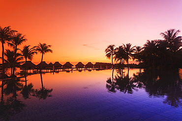 Sunset and palm trees reflecting in a pool at the bora bora nui resort and spa, Bora bora island society islands french polynesia south pacific
