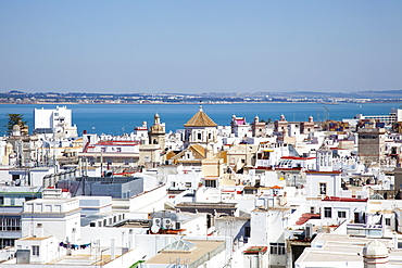 Whitewashed buildings in a town along the coast, Cadiz andalusia spain