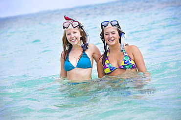 Two Young Women In The Ocean With Snorkelling Gear, Punta Cana, La Altagracia, Dominican Republic