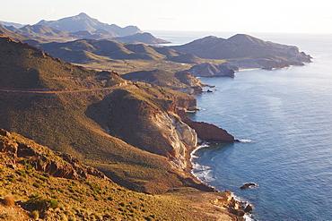 Looking East Along The Unspoiled Coastline Of Cabo De Gata-Nijar Natural Park, Almeria Province, Spain
