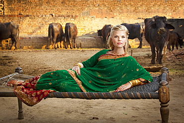 Portrait Of A Blond Woman Wearing A Sari And Laying On A Hammock With Cattle In The Background, Ludhiana, Punjab, India