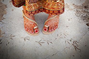Bare Feet Decorated In Mehndi, Ludhiana, Punjab, India