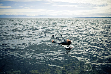 A Surfer Lays On His Back On His Surfboard In The Water, Victoria, British Columbia, Canada