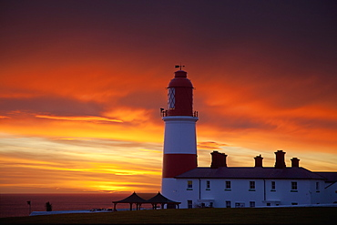 A Lighthouse At Sunset, Whitburn, Tyne And Wear, England
