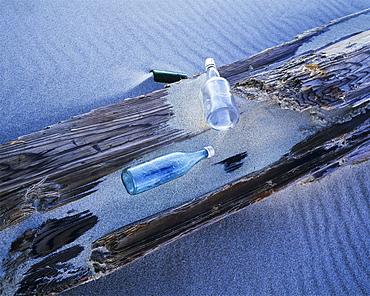 Glass Bottles Wash Ashore At Umpqua Beach, Winchester Bay, Oregon, United States Of America